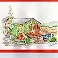 彼岸花と農具小屋