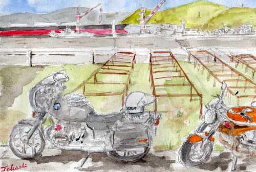 バイクとタンカー